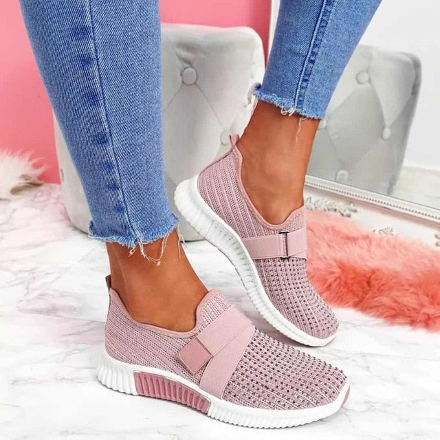 Women Slip-on Collar Strap Rhinestone Sneaker Shoes