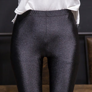 Women Shiny Black High Waist Stretchy Leggings (S-XXL)