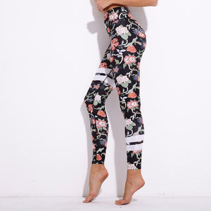 Designer Striped Floral Push Up Leggings