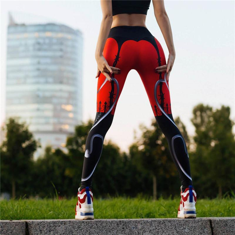 PureGem Designer She Devil  Print Push Up Fitness Leggings