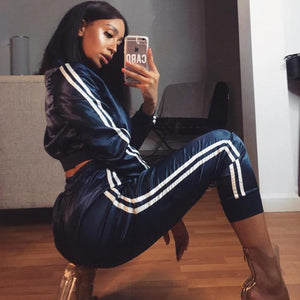 Striped Cropped Zipper Satin Tracksuits Streetwear 2 Piece Set