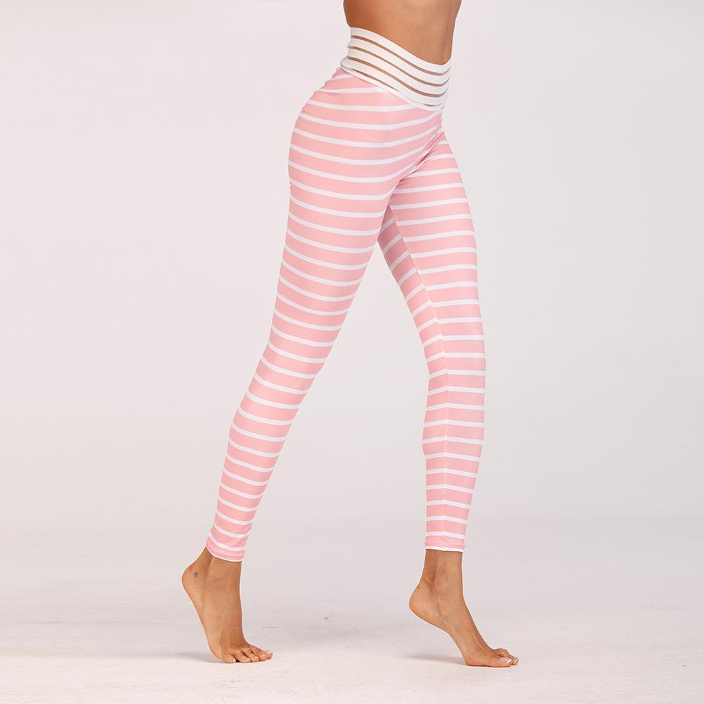 New Peaches Striped Print Fitness Leggings