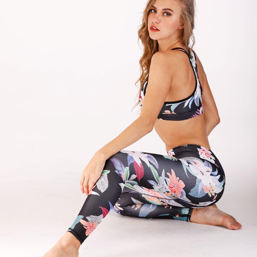 Night Goddess Floral Top and Leggings 2 Piece Set