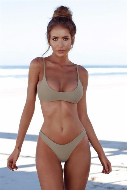 Solid High Waist V-taper Sexy Push Up Cheeky Bikini Set