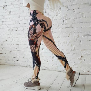 V-Taper Power She-Warrior Print Push Up Fitness Leggings