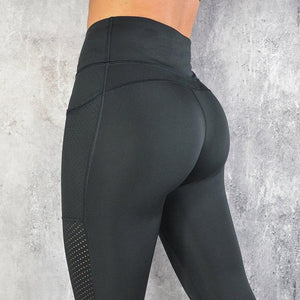 High Waist Sexy Mesh Pocket Push Up Fitness Leggings