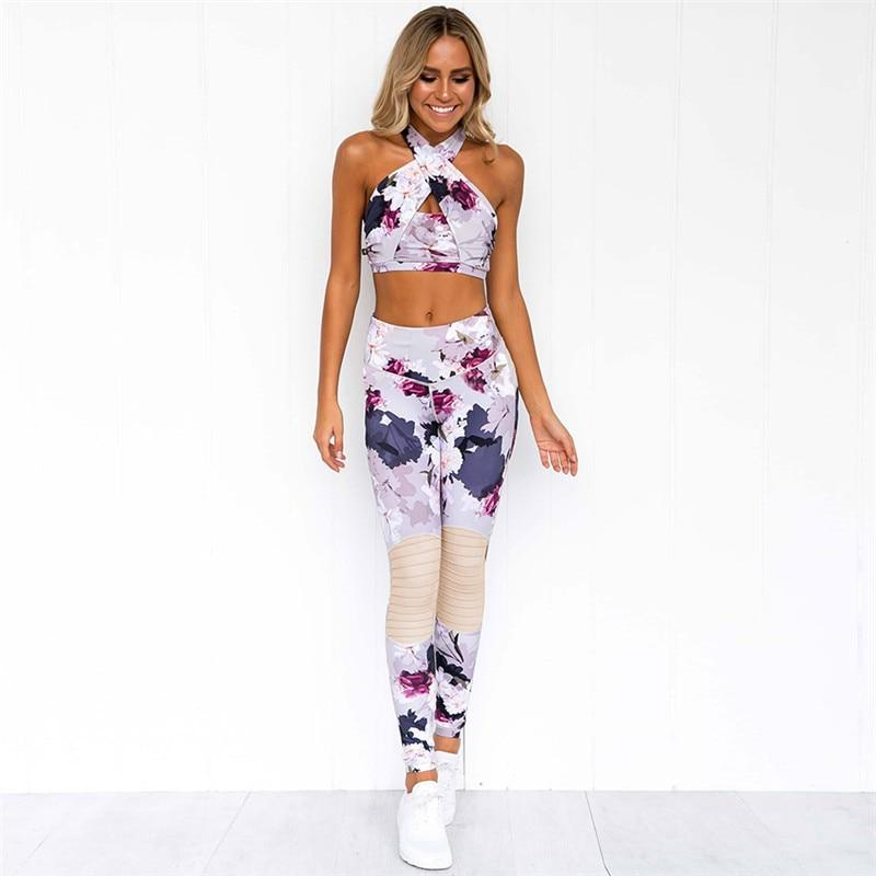 Cross Strap Oriental Floral Fitness 2 Piece Set