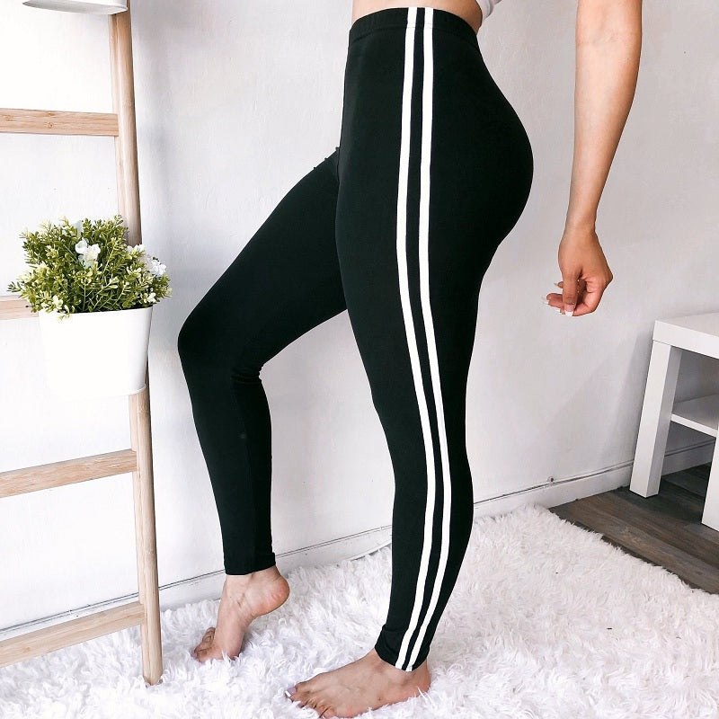 Striped Taped Workout Leggings