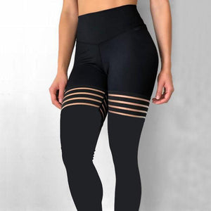 Black Hollow Spliced Leggings