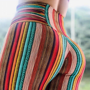 High Waisted Retro Hippy Striped Push Up Workout Leggings