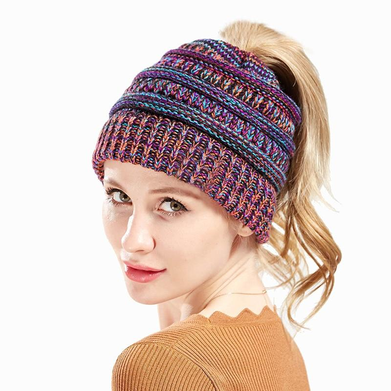 Winter Soft Knit Ponytail Beanie
