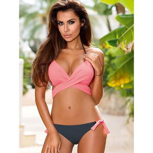 Two Piece Cross Over Push Up Brazilian Bikini