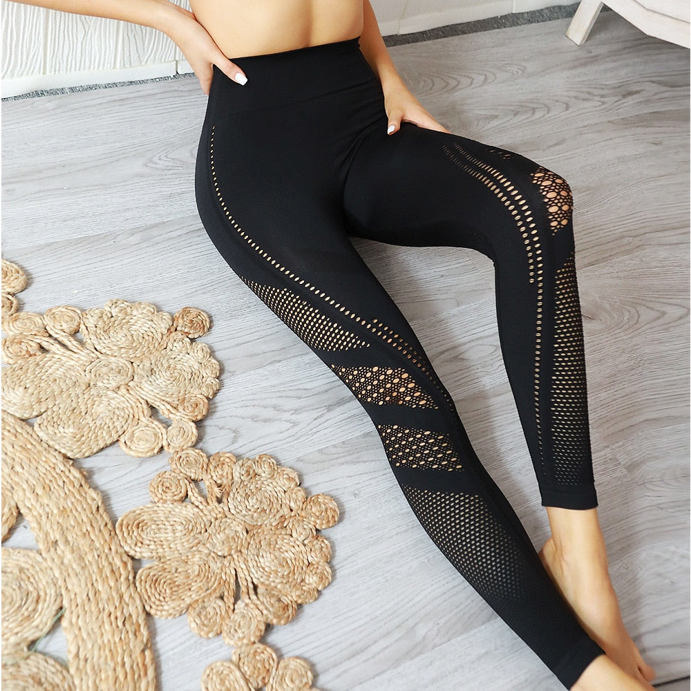 Max Mesh Hollow Tummy Control Push Up Fitness Leggings