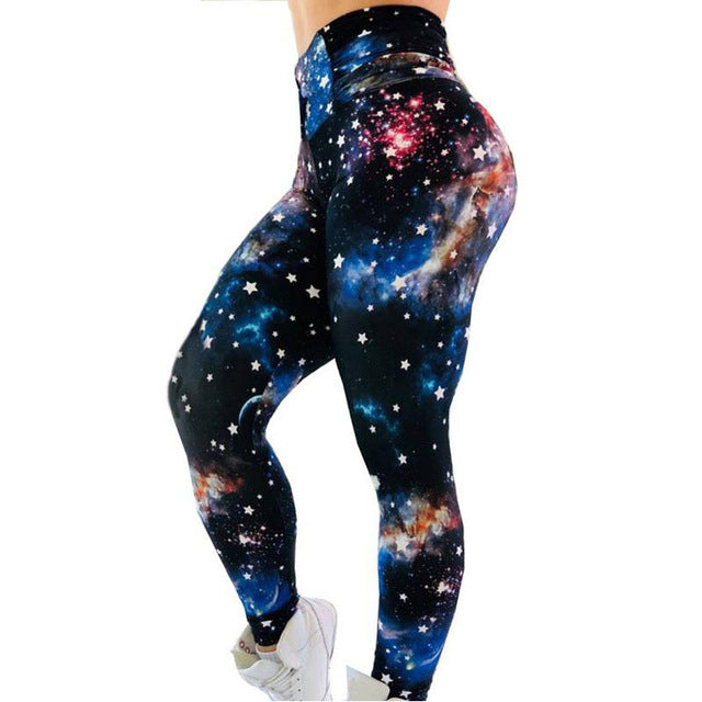 Galaxy Cosmic Print Push Up Workout Leggings