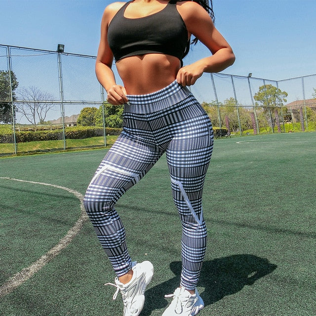 High Waist Gray Plaid Print Push Up Workout Leggings