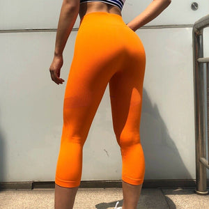 High Waist Solid Cropped Workout Leggings
