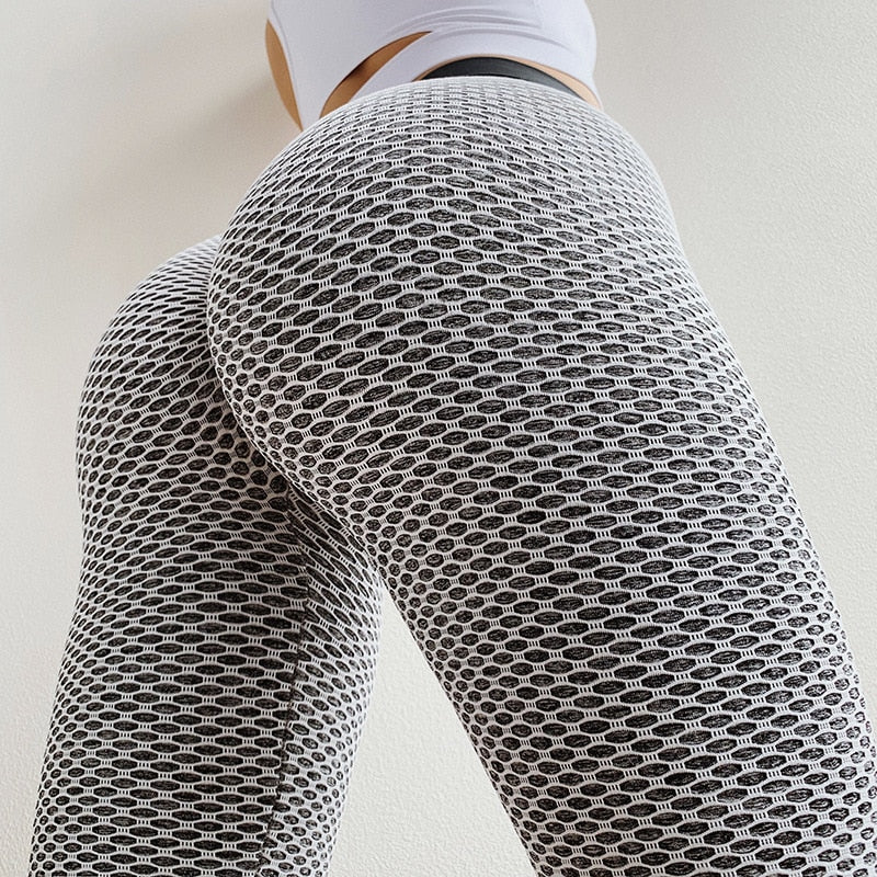 Honeycomb High Waist Anti-cellulite Tummy Control Textured Push Up Leggings