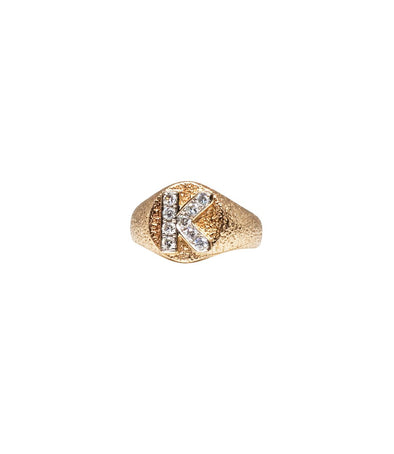14k gold signet ring set with diamonds