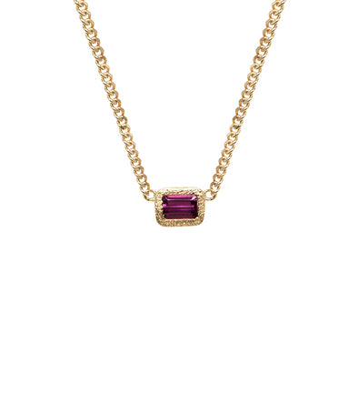 14k gold rubellite pendant necklace