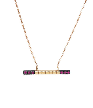 14k gold bar necklace set with rubies