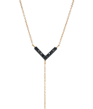 14k lariat with black rose cut diamonds