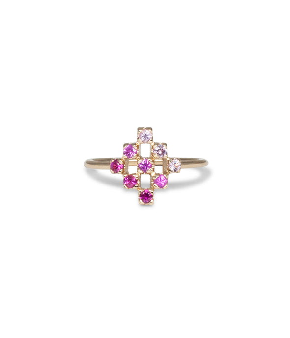 14k diamond shaped ring with sapphires and rubies
