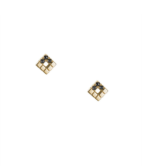 14k gold stud earrings with black rose cut diamonds