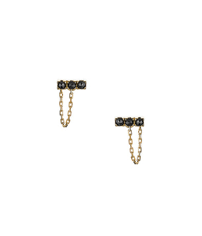 14k gold bar earrings with chain set with black rose cut diamonds