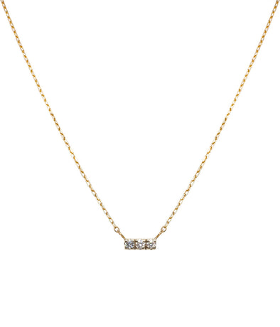 14k mini bar necklace with white diamonds