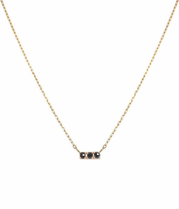 14k mini bar necklace with black rose cut diamonds