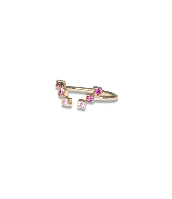 Pink sapphire and ruby step ring in 14k gold