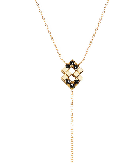 14k lariat necklace with black rose cut diamonds
