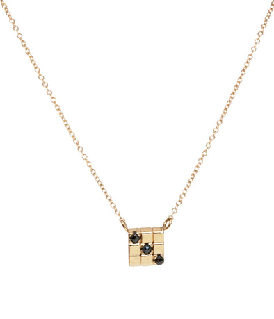 14k square necklace with black rose cut diamonds