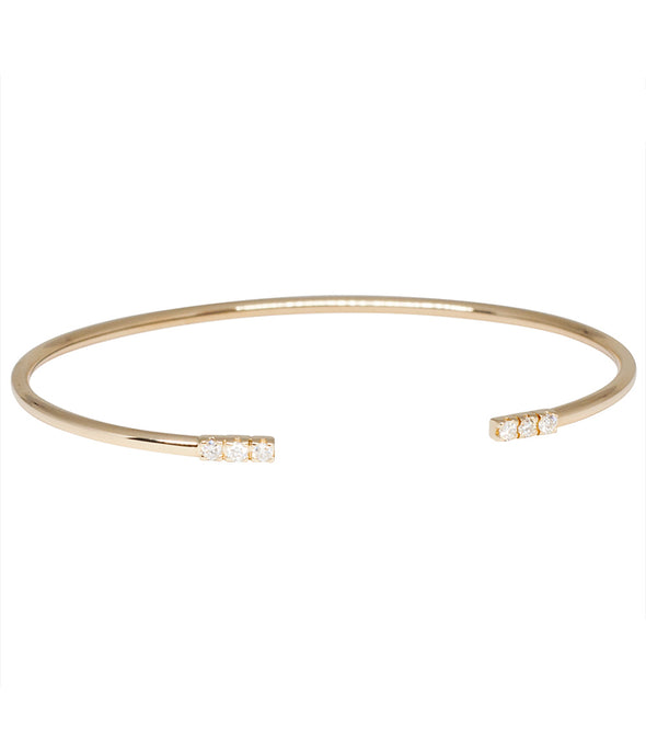 14k gold bracelet cuff with white diamonds