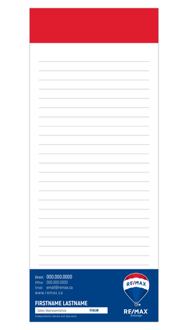 "Remax Note Pads - 3.5"" x 8.5"" - Slim 4"