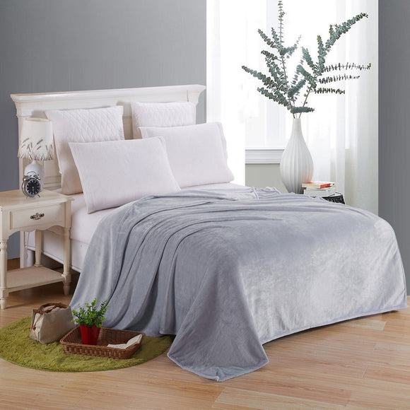 Soft Blanket On The Bed Polyester Coral Fleece Plaid Gray Color Adult Winter Warm Sheets Coverlet Bedspread Flannel Blankets