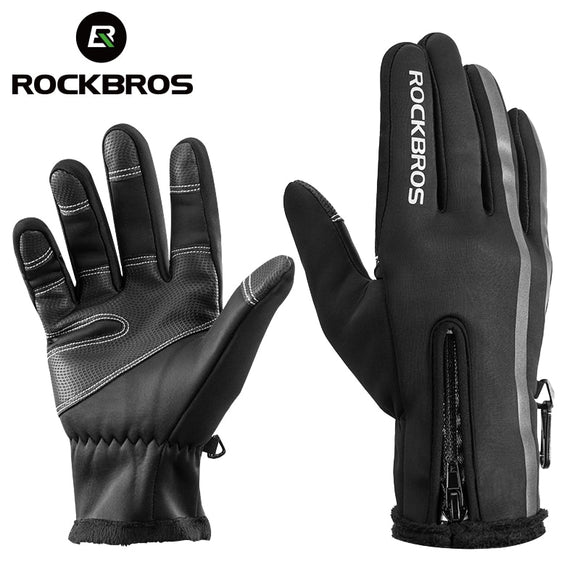 ROCKBROS Thermal Ski Snowboard Gloves Winter Fleece Waterproof Snow Sport