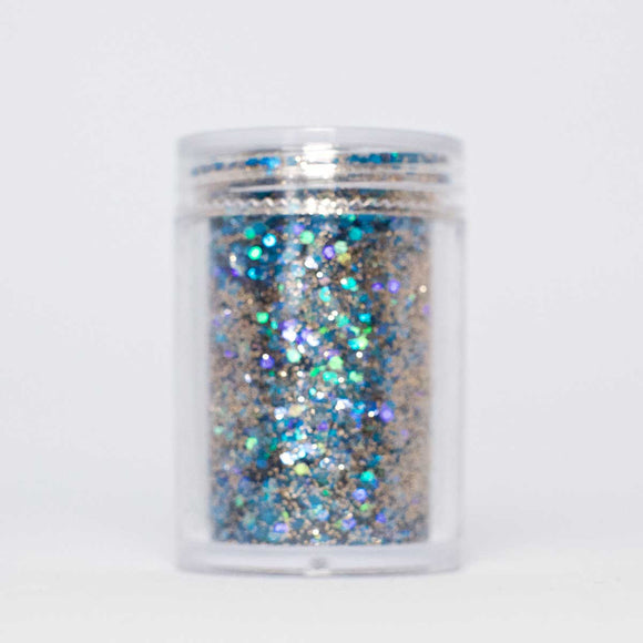 Blue / gold micro dot glitter