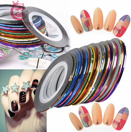 Ten Piece mini nail foil strips - Foil finish