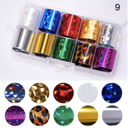 Nail Art x 10 mixed Foil Set 1