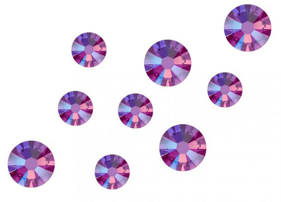 Swarovski No Hot Fix Crystals Mixed Sizes - Pack of 200 Fuchsia Shimmer