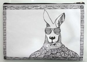 Scribbla - Colouring-in Pencil Case & Fabric Pen Set, Kangaroo