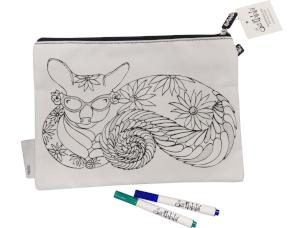 Colouring-in Pencil Case & Fabric Pen Set,