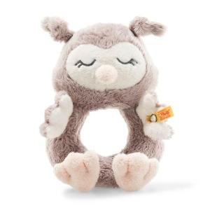 Steiff Soft Cuddly Friends Ollie Owl Grip Toy with Rattle, 14 cm