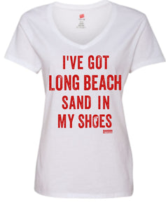 Women's V-neck Sand in Shoes T-shirt