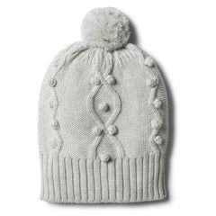 Knitted Hat with Baubles- Cloud Grey