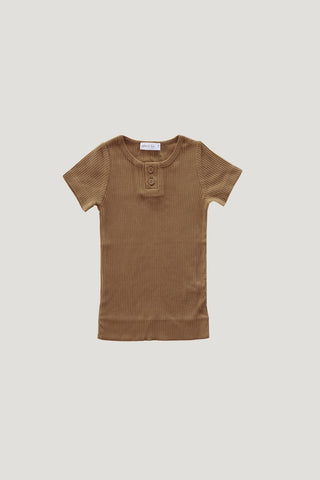 Cotton Modal Short Sleeve Henley in Bronze by Jamie Kay