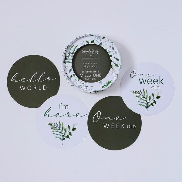 Enchanted and Olive Milestone Cards