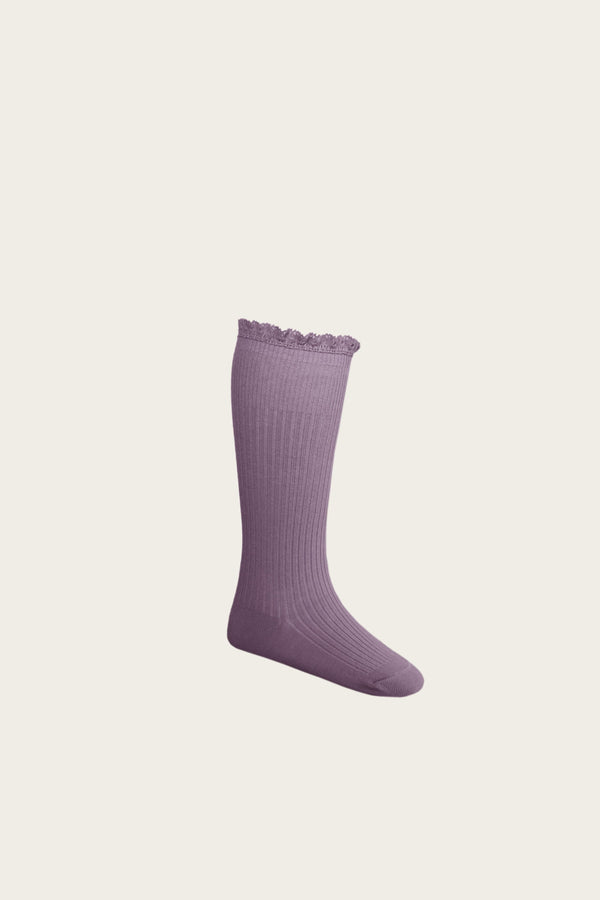 Frill Sock in Blueberry by Jamie Kay