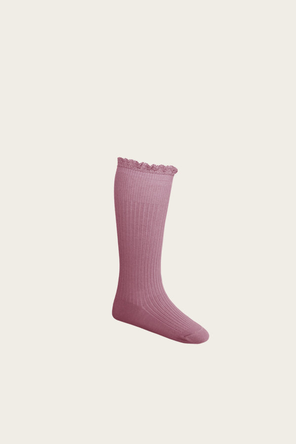 Frill Sock in Plum by Jamie Kay